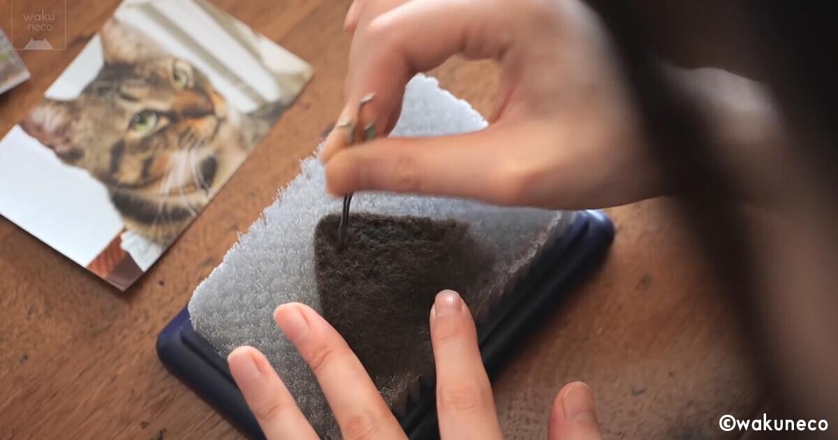 猫の耳を作る工程