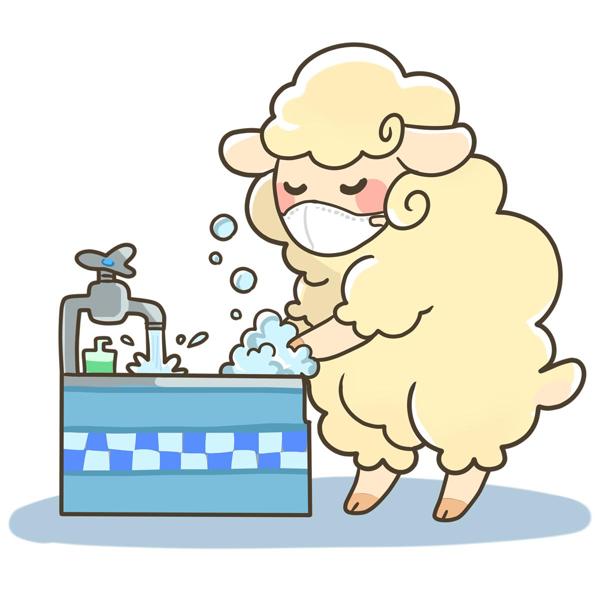 マスクをして手洗いをする羊(ひつじ)